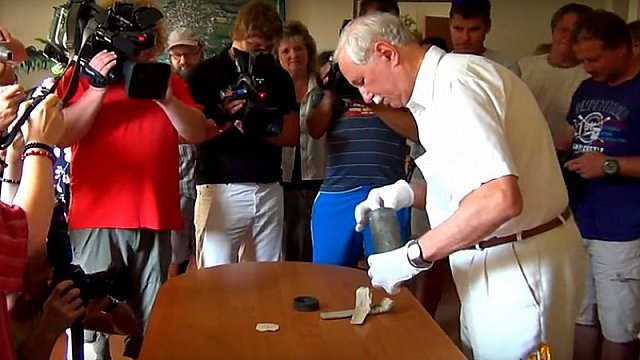 Slavnostní otevření tubusu kostela Nalezení sv. Kříže v obci Rybí